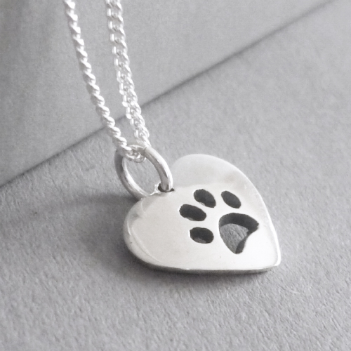 Pawprint Heart Pendant on Chain