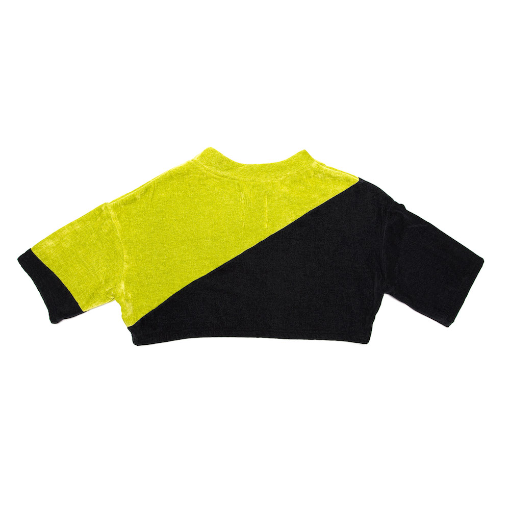 Cropped Nicci Tee - Charcoal/Lime