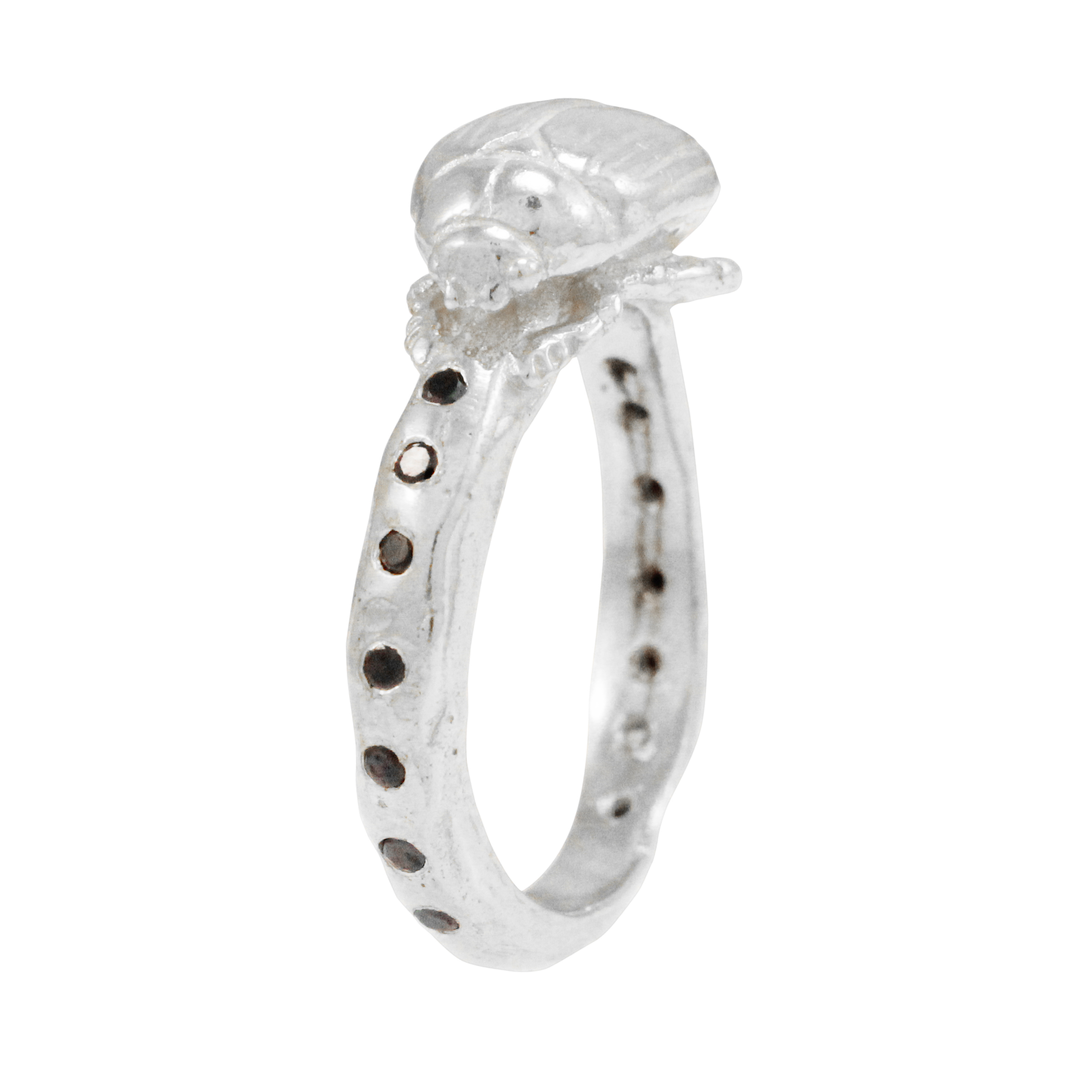 Silver Diamond Beetle Eternity Ring