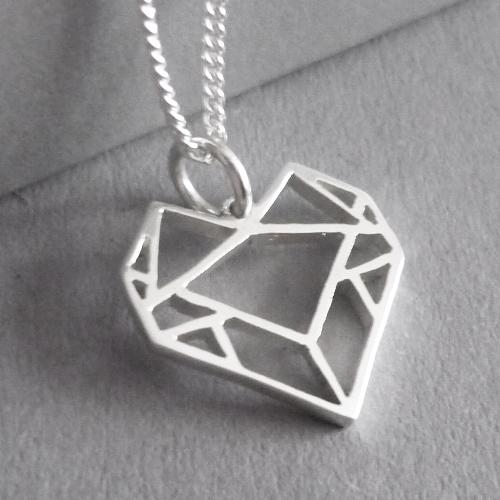 Origami Heart Pendant on Chain