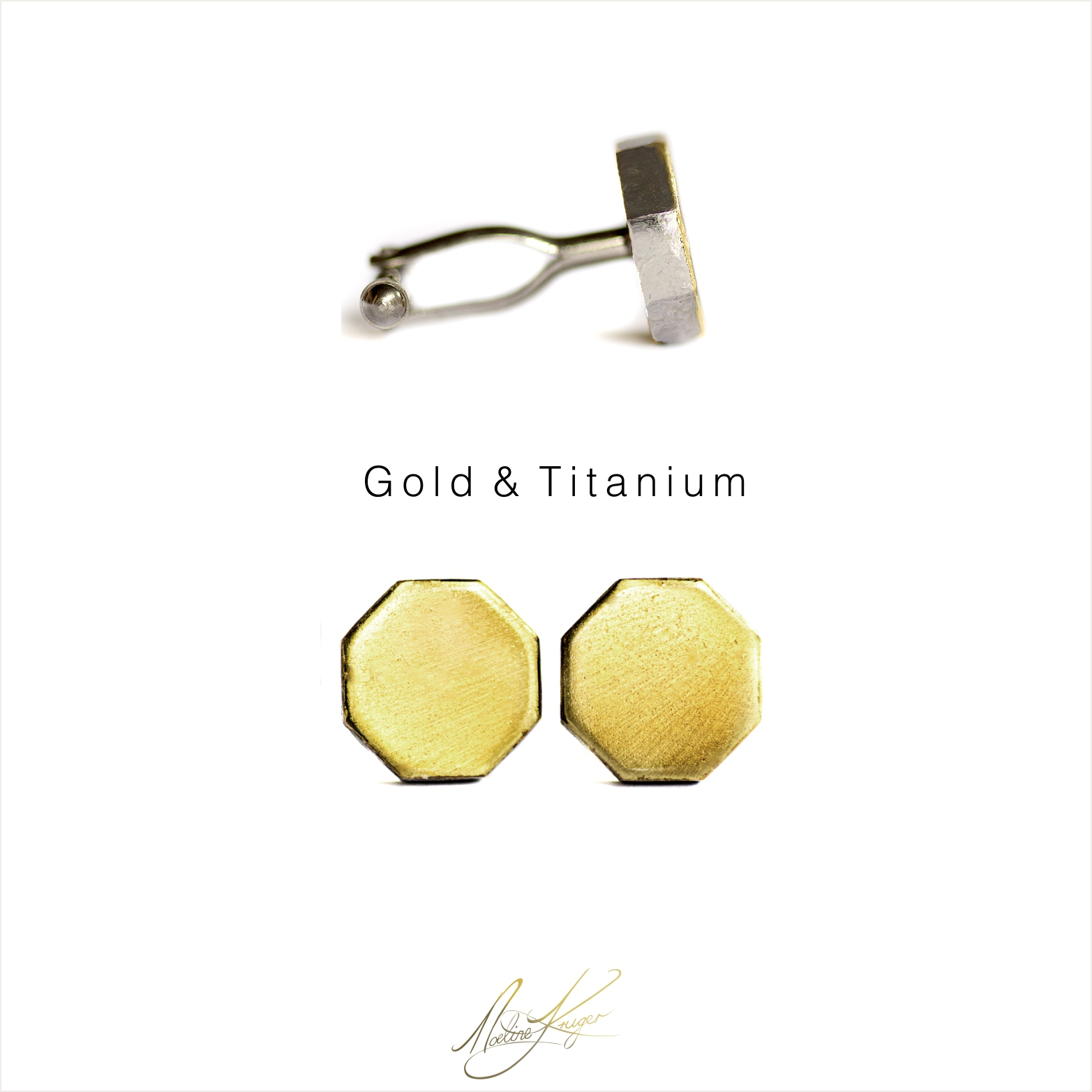 Cufflinks, Octagon in Gold & Titanium
