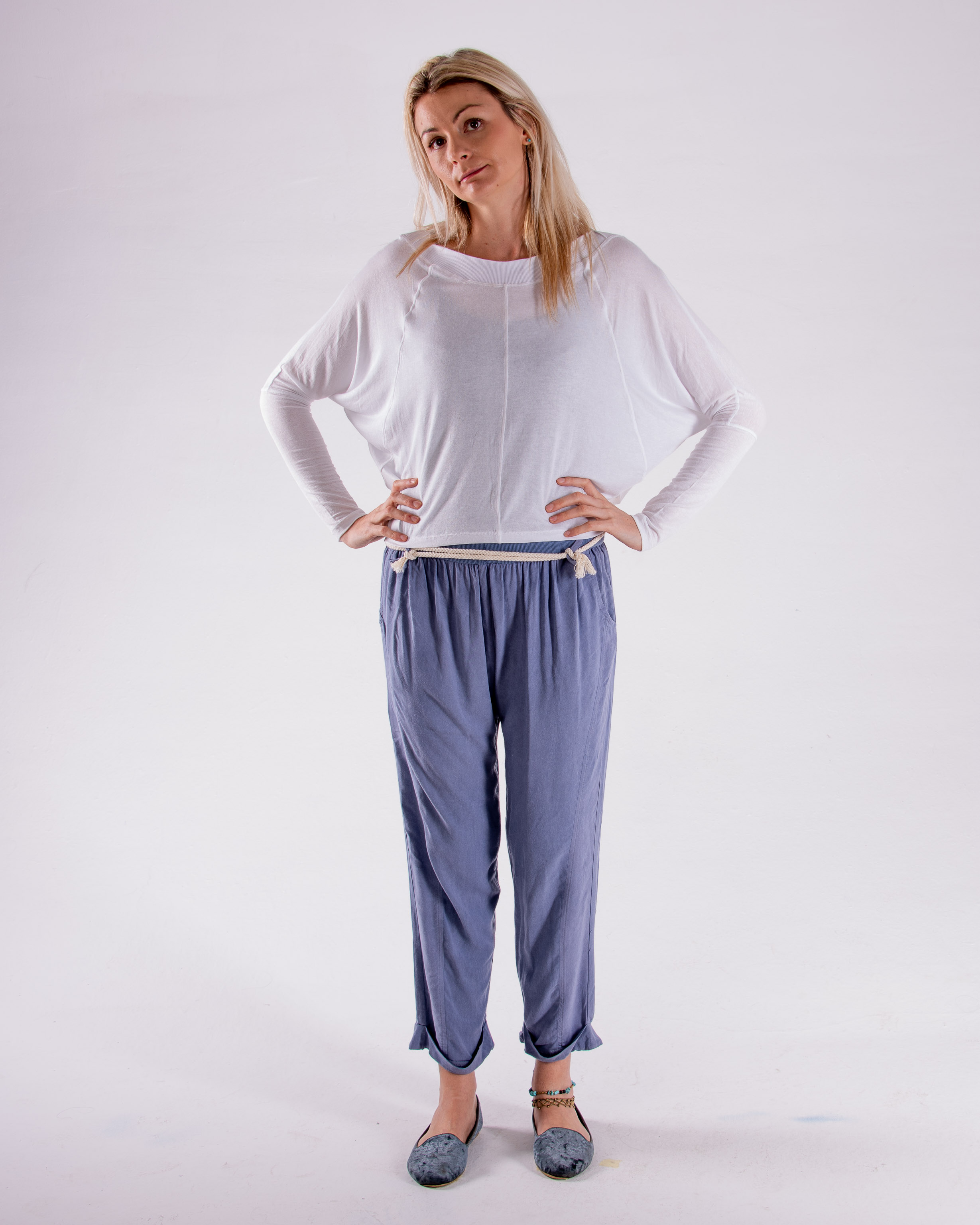 Soft, delicate, One-size pullover. Boat-neck made from cotton ribbing. Can be worn off shoulder.  One size  White