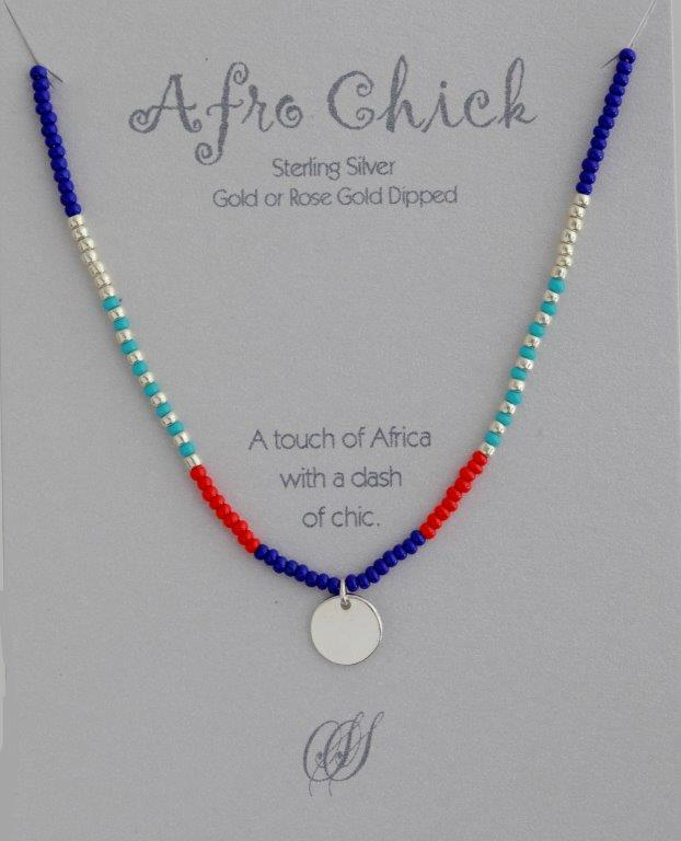 Afro Chick Necklace - Silver, red, turquoise and blue