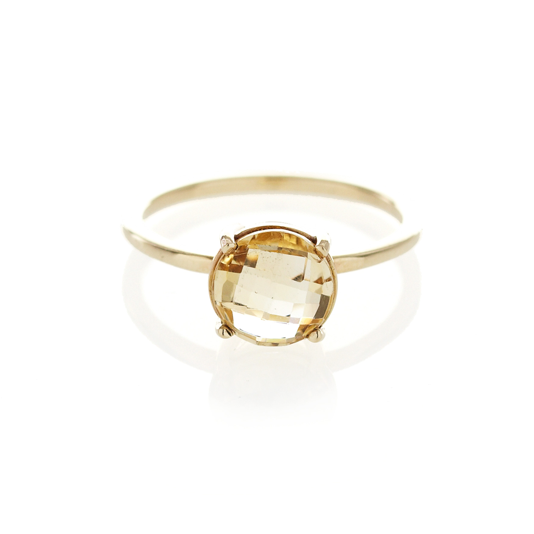 Checkerboard citrine ring in 9ct yellow gold