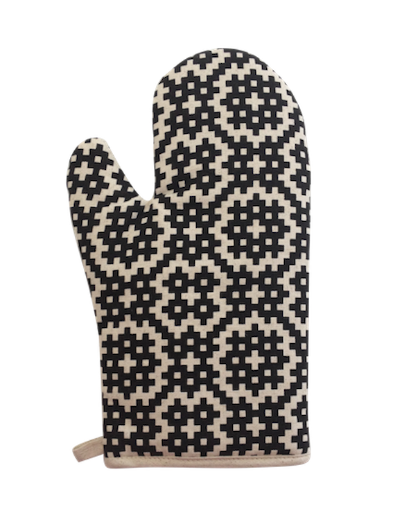 Oven Glove - Bemba blocks (Black on Natural)