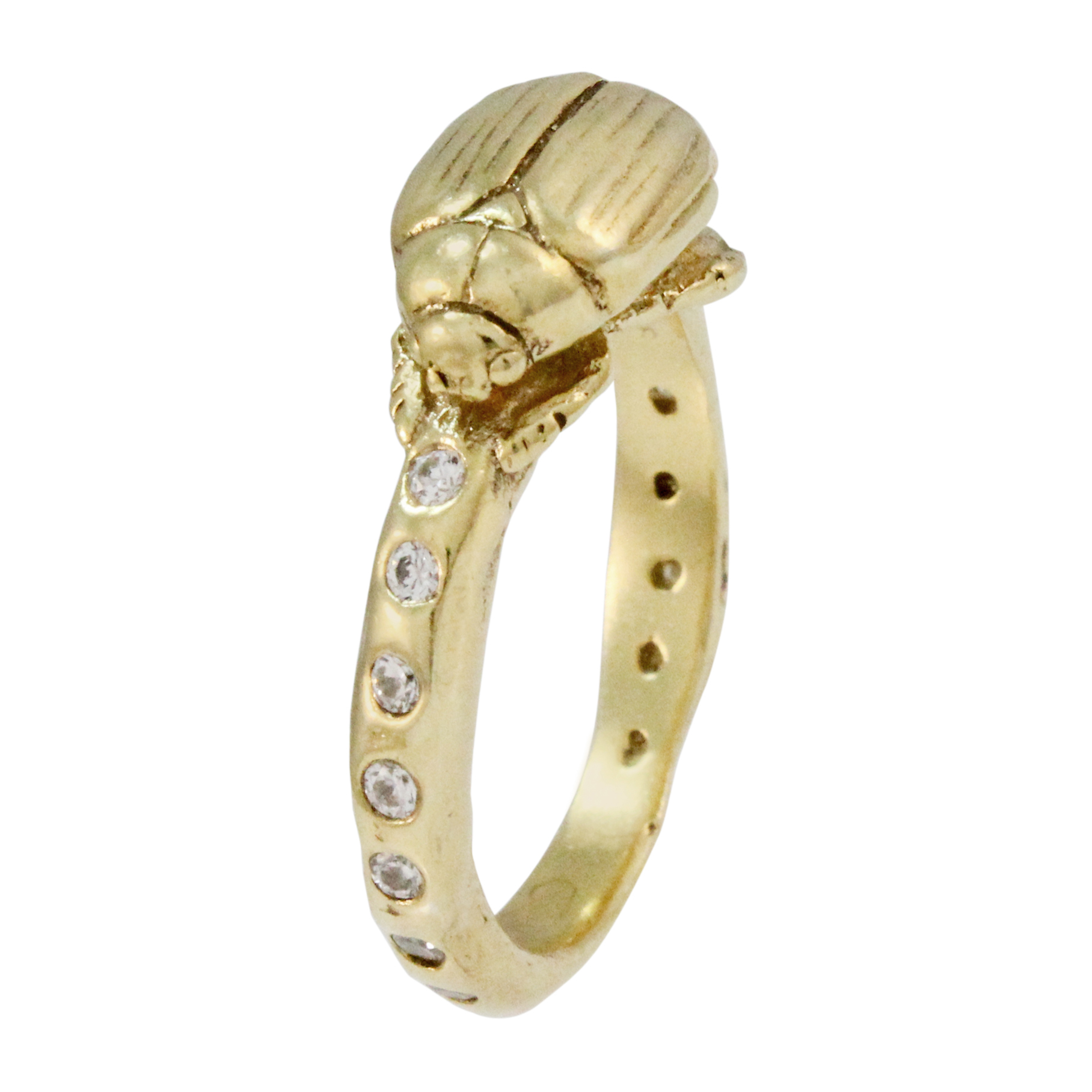 9ct Solid Yellow Gold Ring Swiss Set withDiamonds    Beetle - 13 x 8mm, Band width approx 3.5mm  14 Diamonds with a total of 0.42cts    Please see our info page for more details on sizing  *Please note that this piece is made to order and takes a minimum of 14 working days to complete*