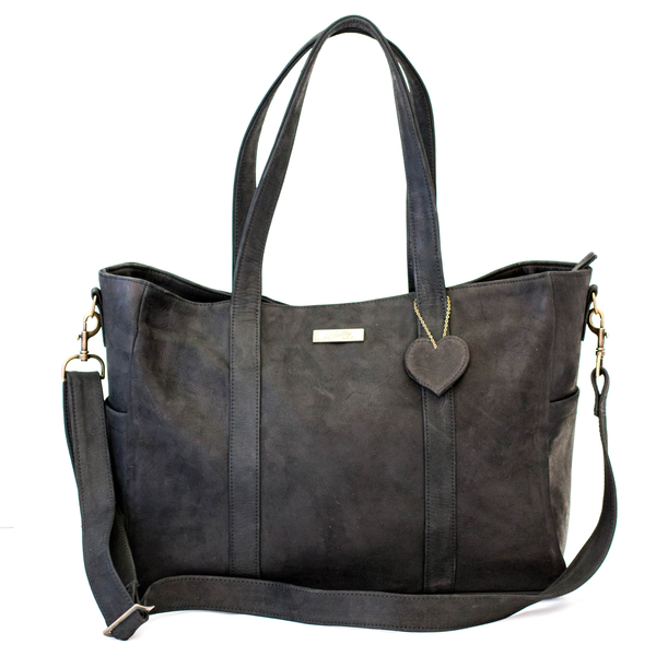 Black Luxury Leather Baby Bag