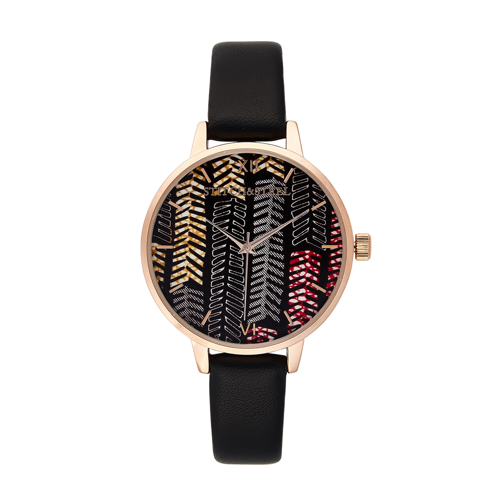Feathers Of Africa - Womens Wrist Watch Black Strap