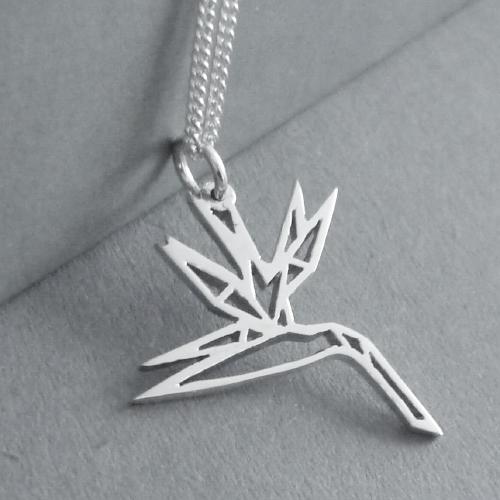 Origami Strelitzia Pendant on Chain
