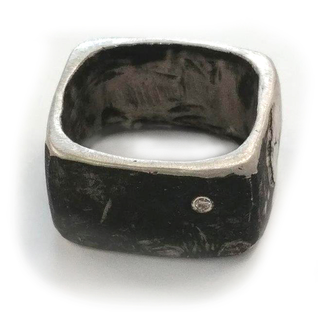 square unisex ring in oxidised silver, set with 1 2mm diamond  available in gold or brass