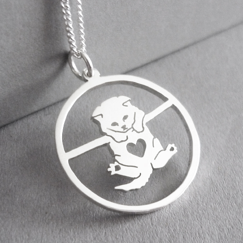 Sterling silver cute hanging kitty cat in circle pendant.