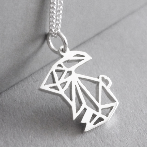 Cute little hand-cut sterling silver bunny pendant - inspired by origami design..