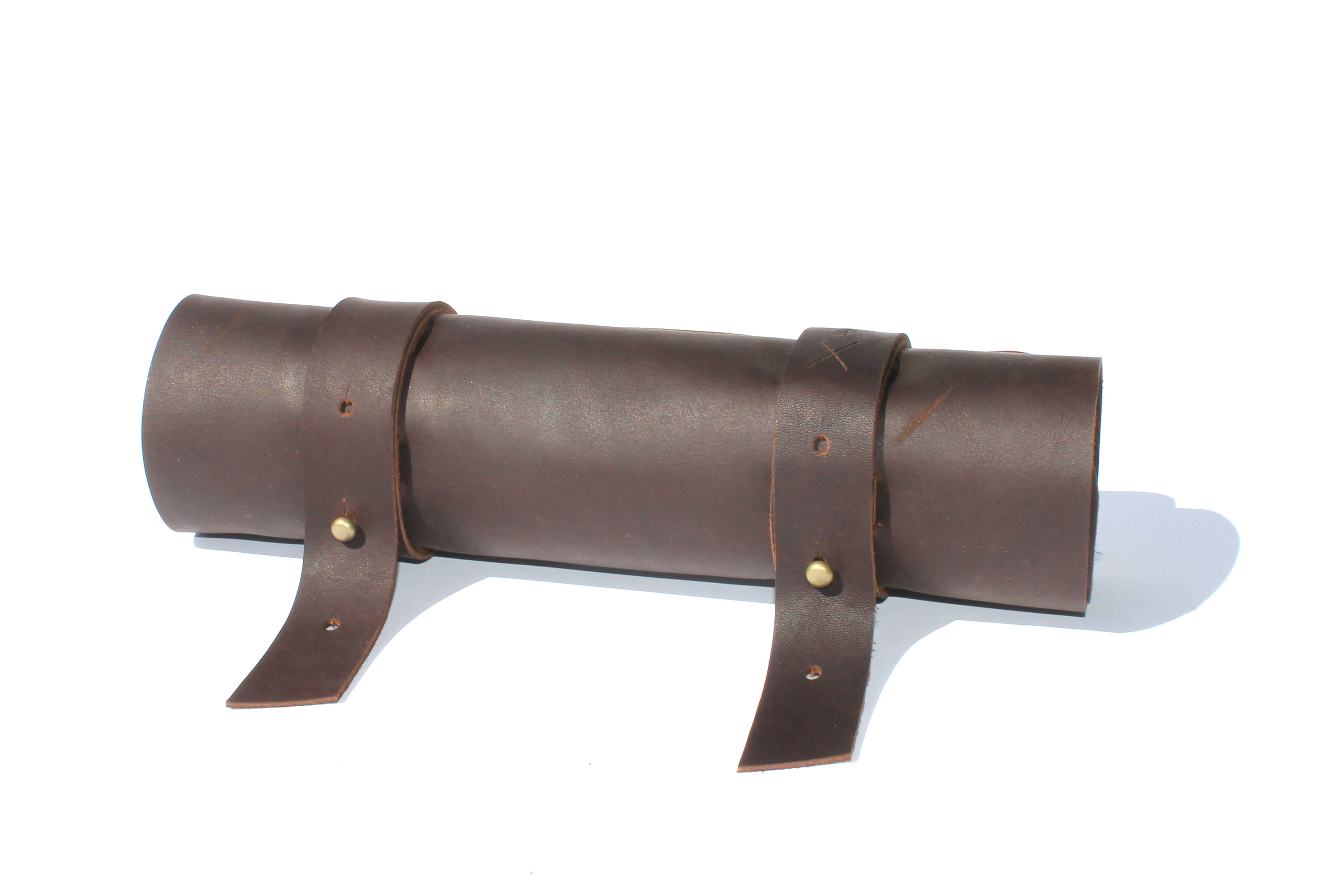 Chocolate, Tan and Black Genuine Leather Tool Roll up