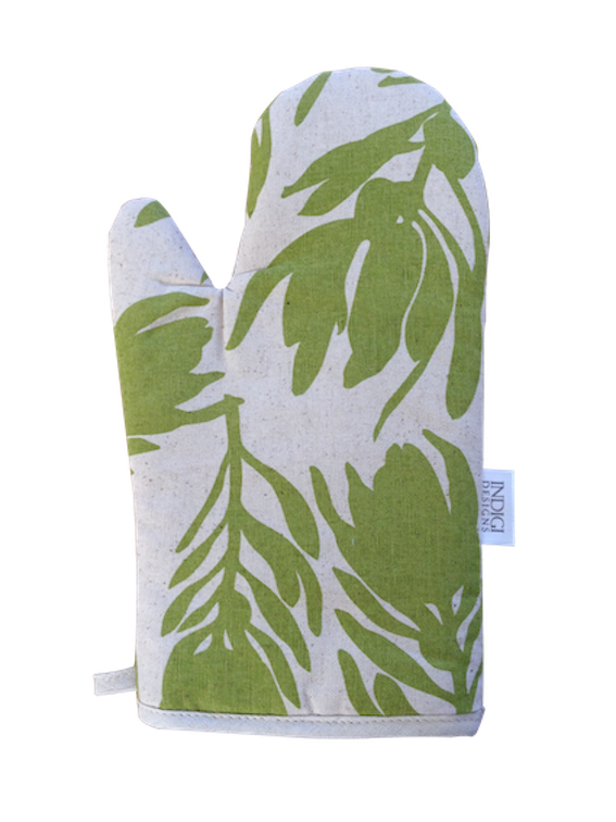 Oven Glove - Conebush (Olive on Natural)
