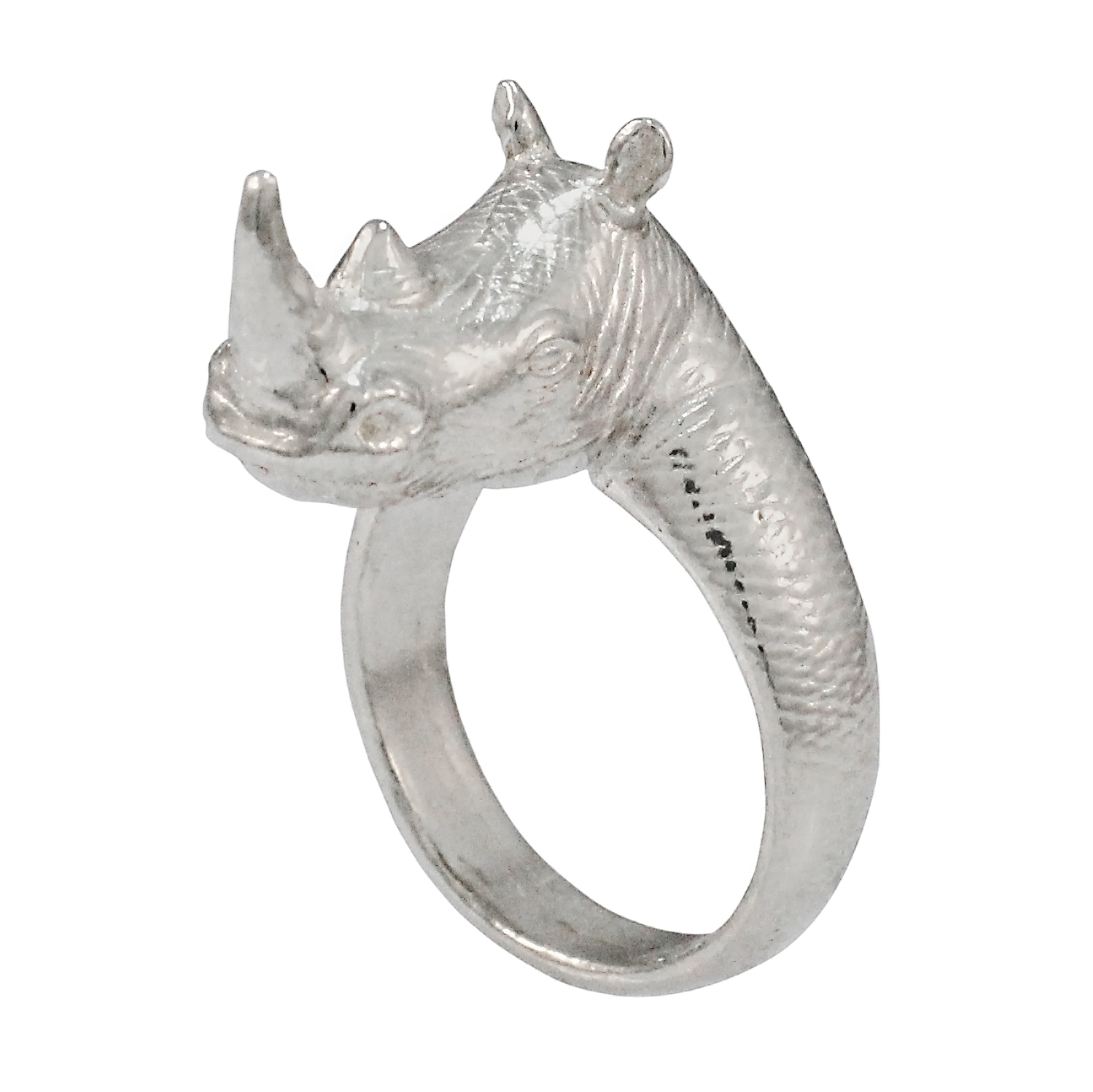 Sterling Silver Ring    Rhino Head - 21 x 8mm  Please see our info page for more details on sizing    10% of this sale is donated to The Black Mambas Anti-Poaching Unit