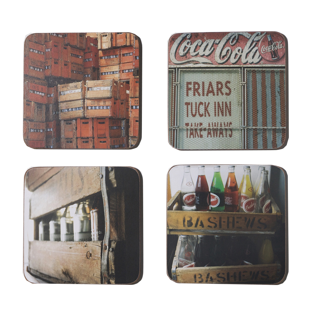 Just the place to put your cold Bashews or Double O ! A set of four different coasters, cork-backed, heat resistant and wipeable with a damp cloth.