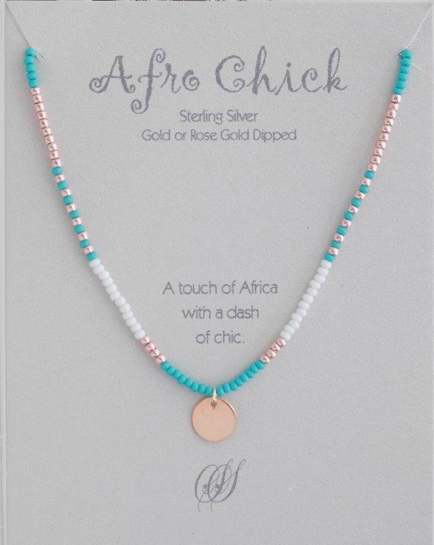 Afro Chick Necklace - Rose Gold, turquoise and white