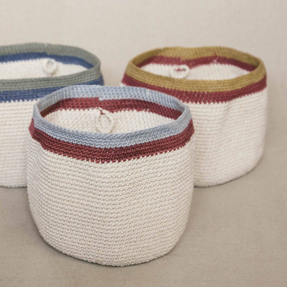 Lapoplap's original hand crocheted baskets. Beautifully display bread rolls, toast, fresh fruit, a vase of flowers or pot plant, toiletries, or smaller items in this unique, stylish basket. Use as a centrepiece in your table decor or to organise and brighten that special corner. Keep bread warm on your table and easily pop them in the microwave bread-and-all to heat as necessary.