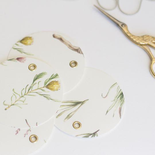Fynbos and proteas form a beautiful pattern for these special occasion gift tags.