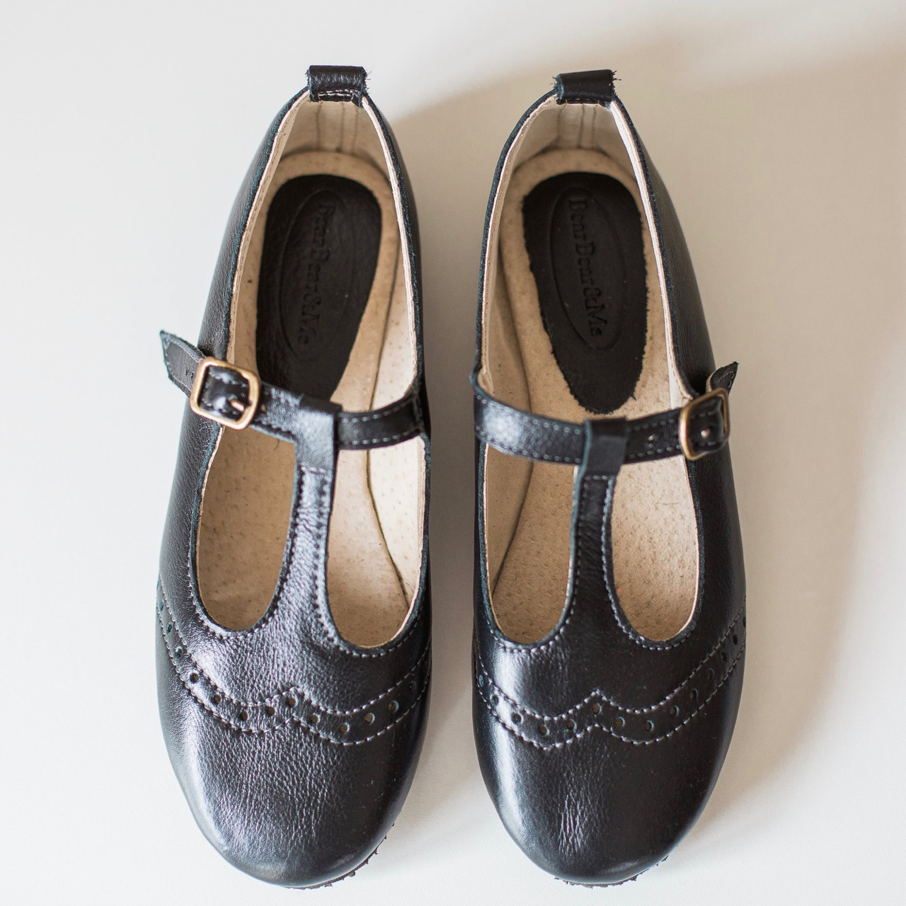 Ladies Black Mary Janes with broguing - LMJ11