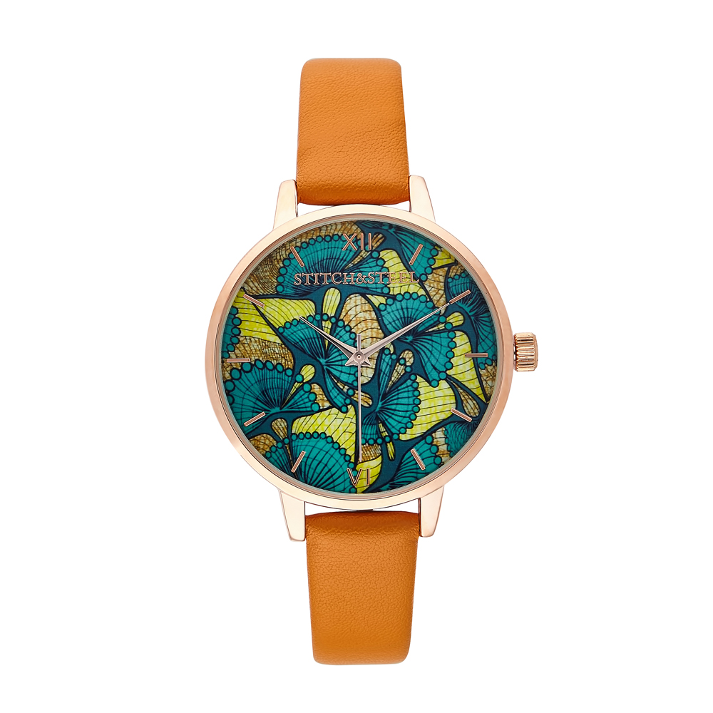 The Evergreen African Print Watch- Tan Strap