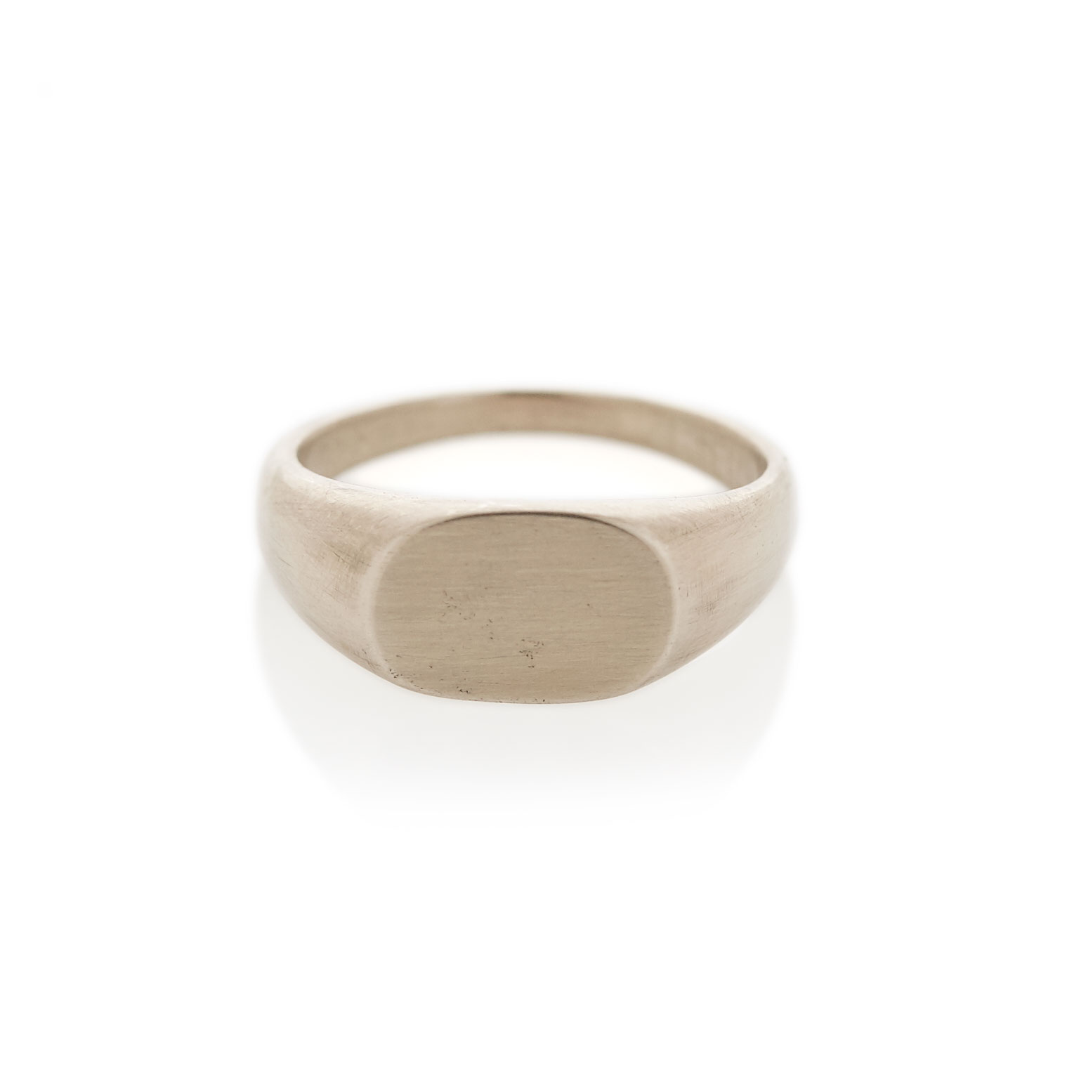 White gold oval signet ring