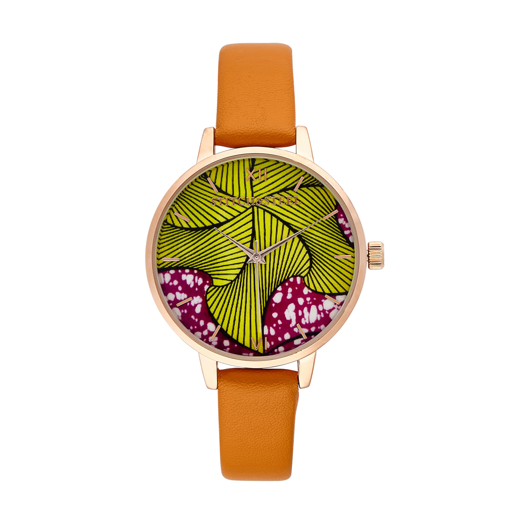 Wheel of Time-African Print Womens Wrist Watch by Stitch and Steel - Tan Strap  Regular price