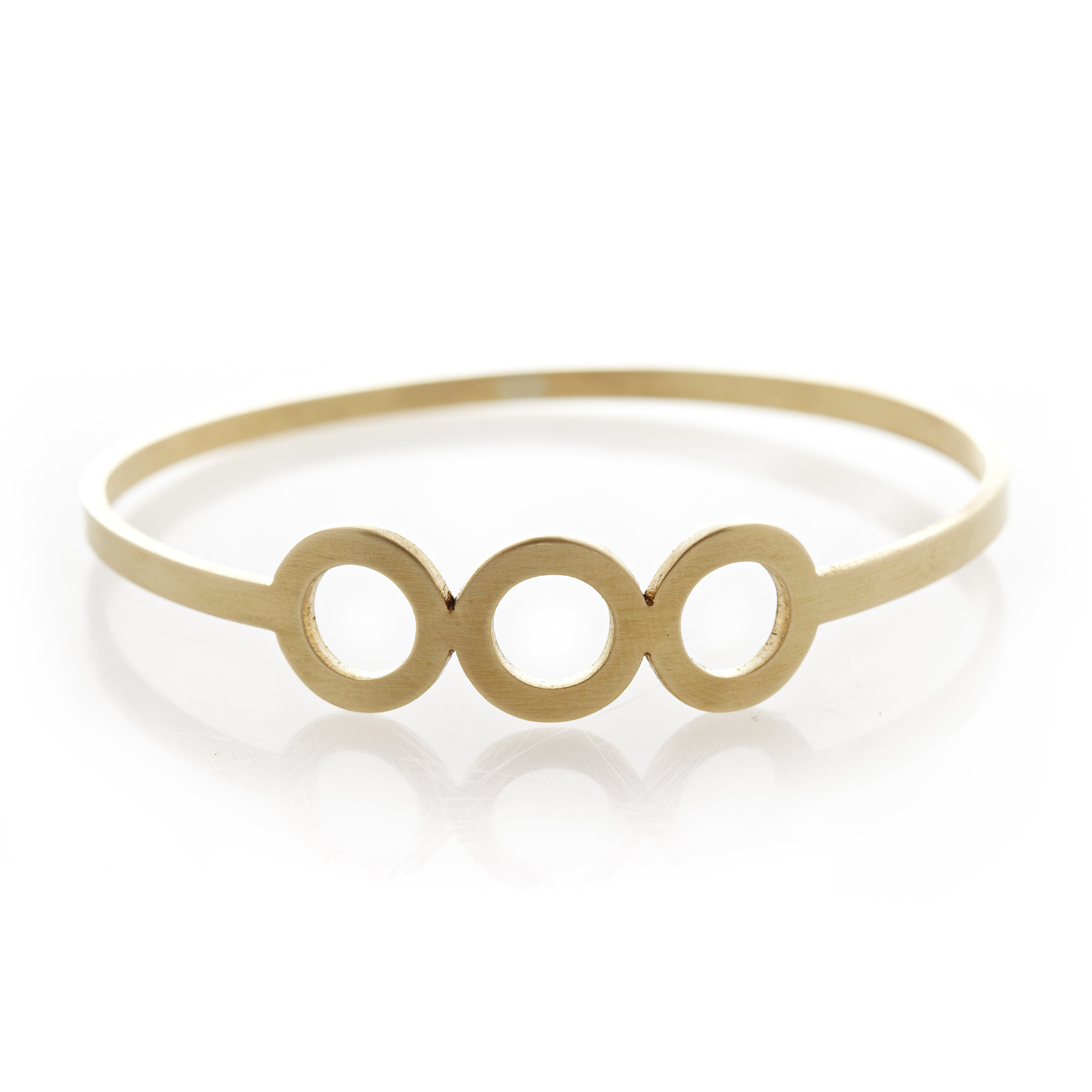 Tryptic circle brass bangle