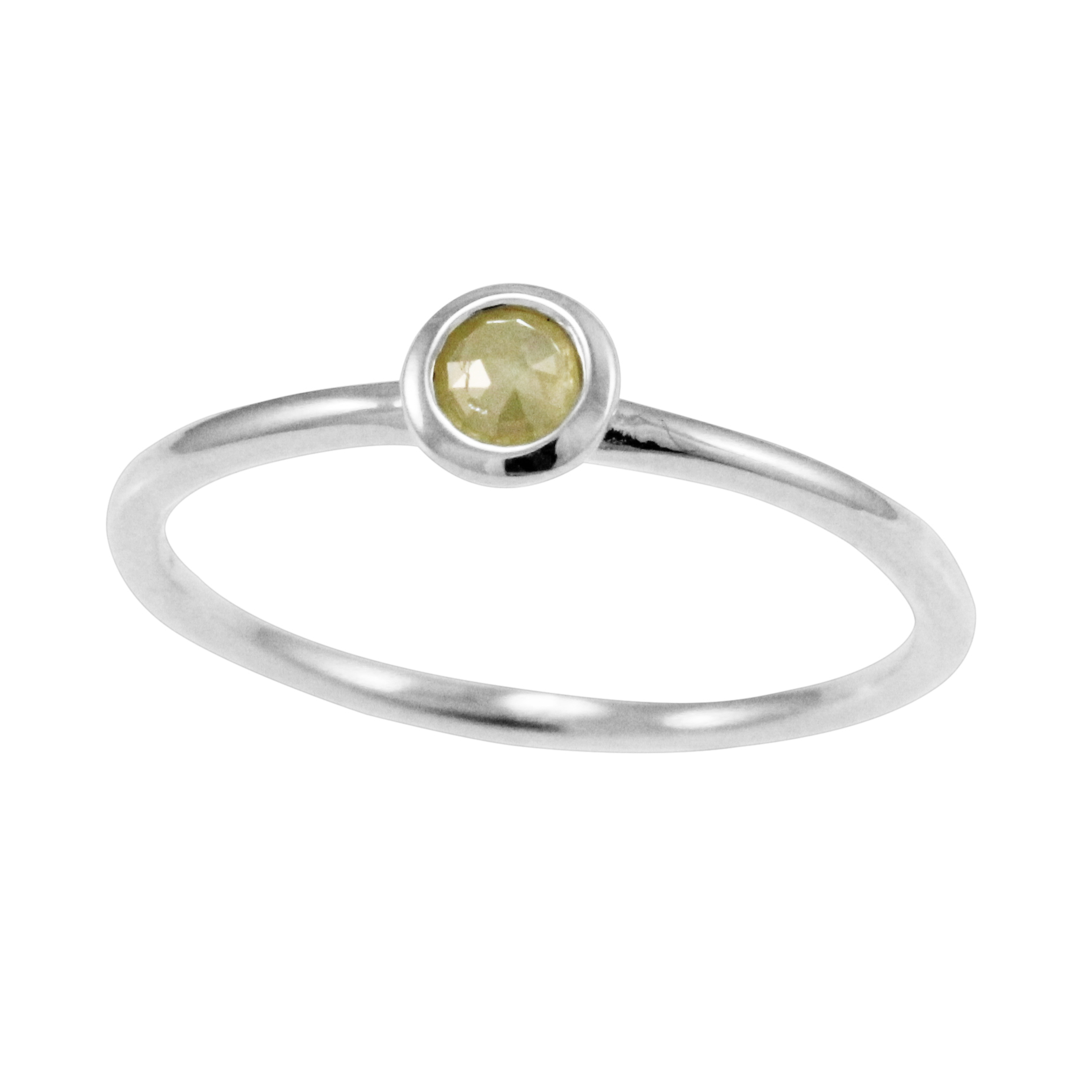 White Gold Yellow Rose Cut Diamond Stack Ring