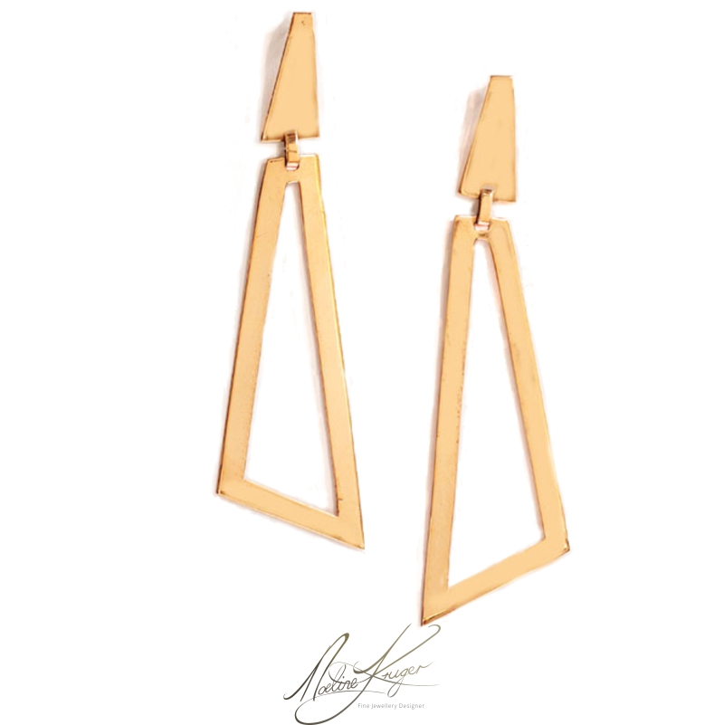 These triangle minimalist brass earrings are totally unique and one of a kind. They are light and comfortable to wear. They are hand cut in unique forms with a lacquer finish. The posts and butterfly backs are made from sterling silver.