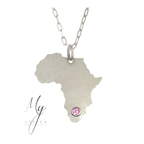 The 21mm tall silver Africa pendant features a pink sapphire, on a silver chain.
