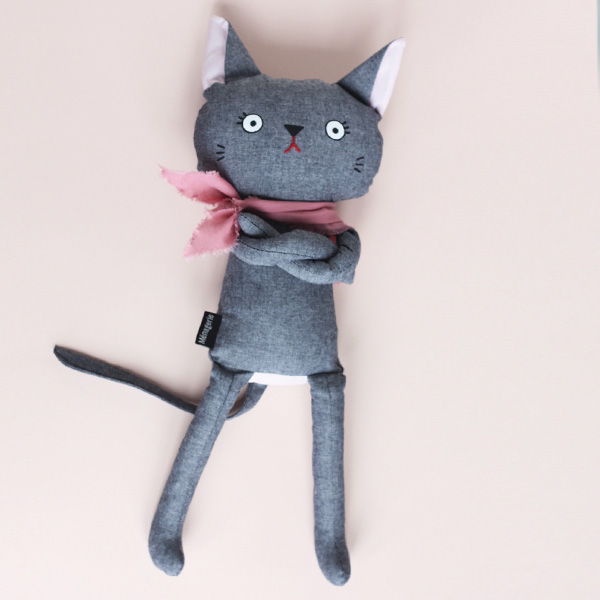 Feeling Blue? When your day has gone sideways, or your mom has made you eat Brussel Sprouts, Cross Cats make the best companions. Cuddle a Cross Cat, and feel better! They are made from dark grey cotton fabric, and come with a jaunty scarf. Scarf colour can be requested. The perfect gift for an expectant mama or the little people in your life.
