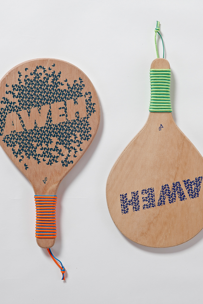 A unique and creative take on beach bats, where a collection of 3 local South African words are made into 6 different prints and screen printed onto a hard wood marine ply.  Choose between a lighter or heavier bat depending on your playing style. Then pair your personal set of bats from the various selection of artworks.