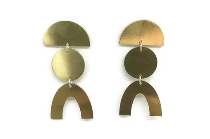 Statement shape brass earrings with sterling silver earring pins