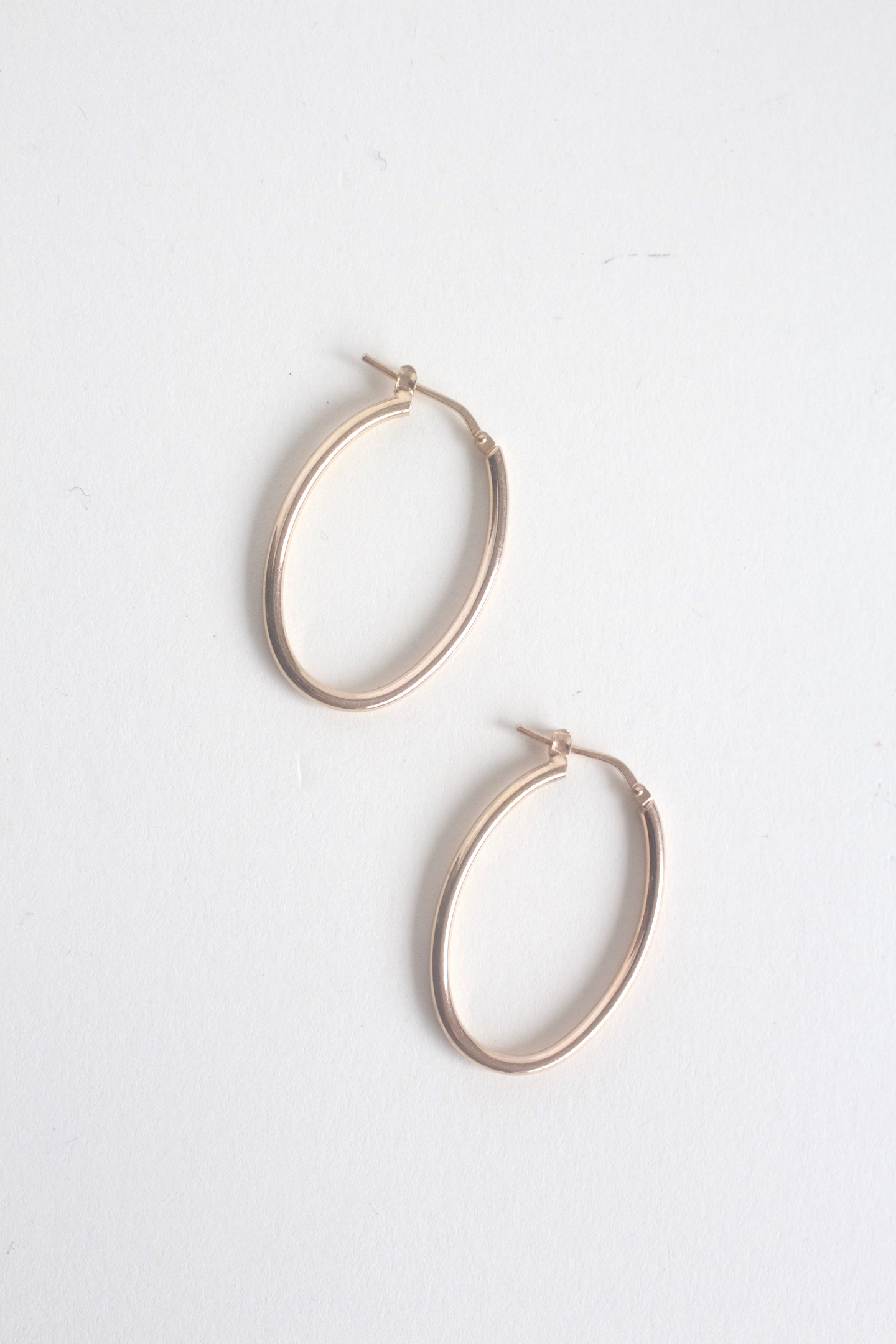 Lightweight Gold Plated Sterling Silver Oval hoops
