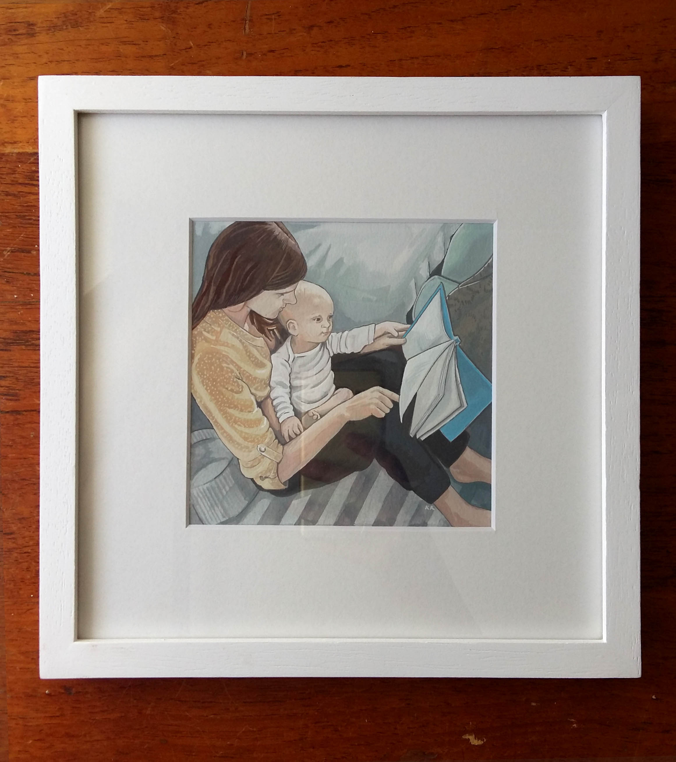 FRAMED Custom Mother and child / children Portrait  - Hand Painted