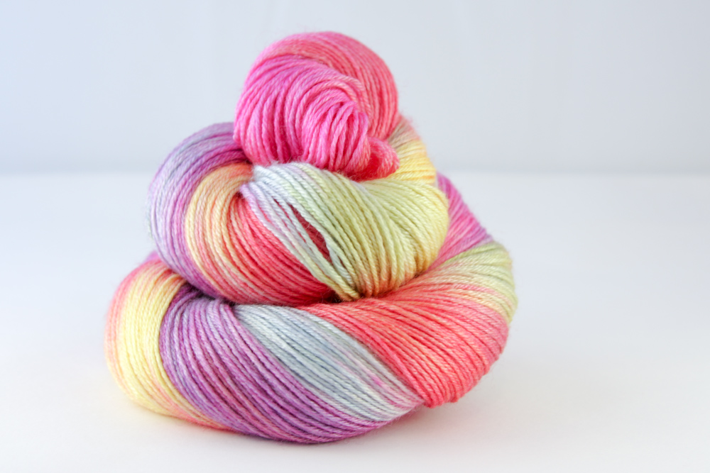 Colour - variegated butter yellow, sky, tangerine, lime, candy pink, amethyst, purple, natural white