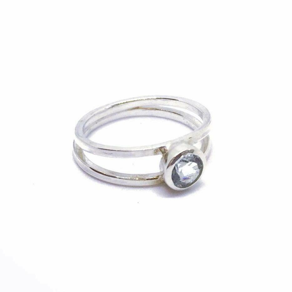 Emma Double Band Aquamarine Ring