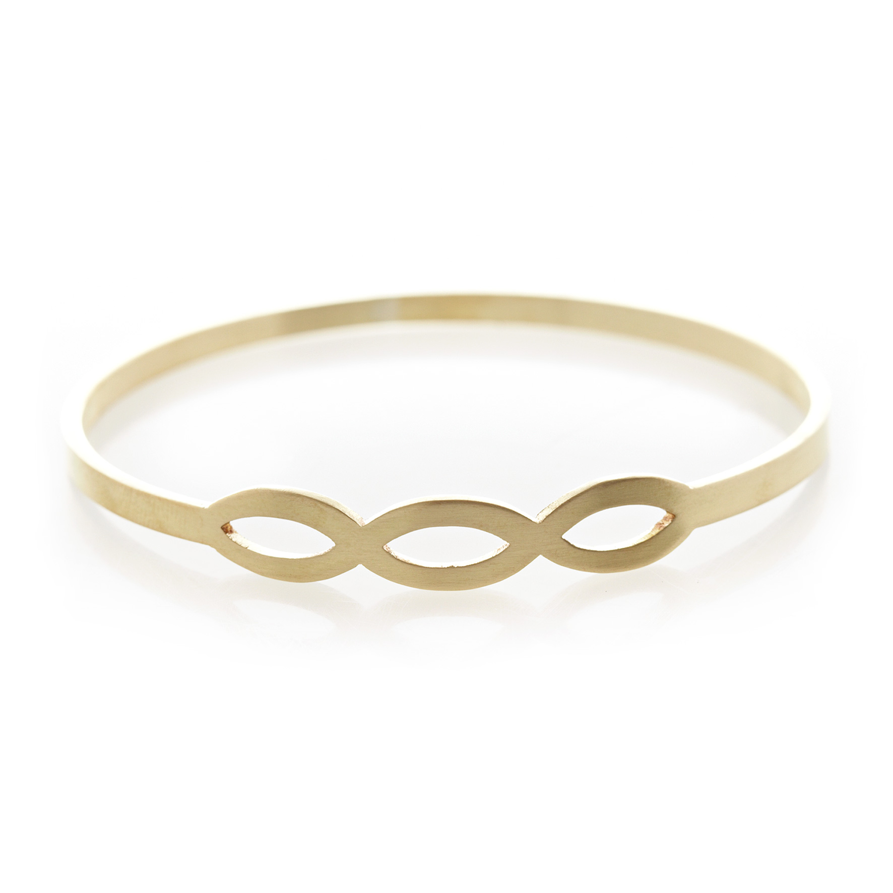 Tryptic pod brass bangle