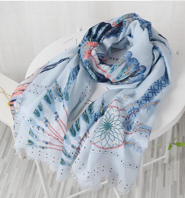 Dream catcher print scarf w foil print