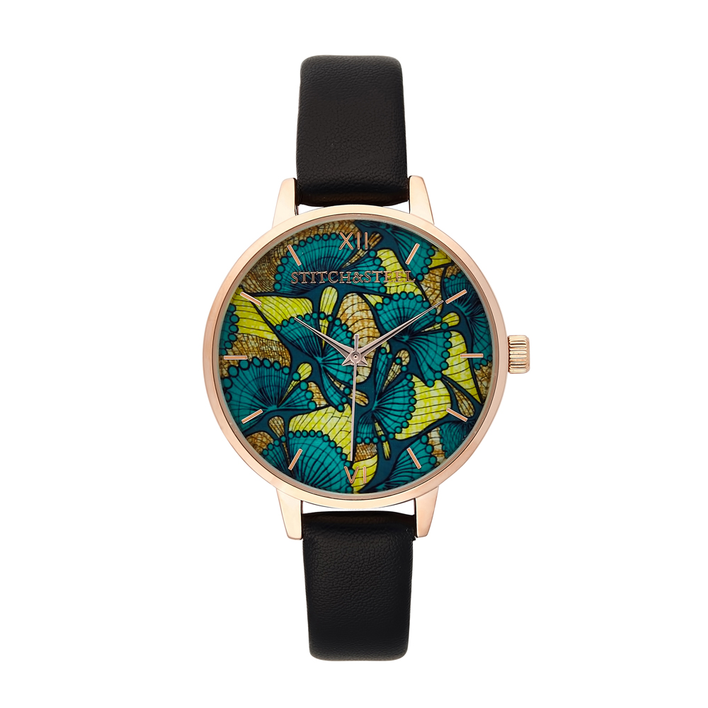 The Evergreen African Print Watch- Black Strap