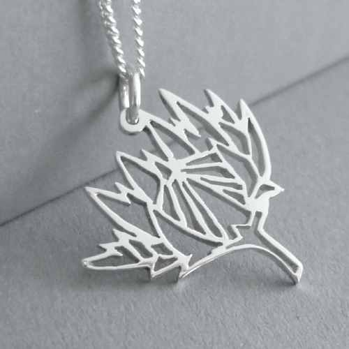Cute little hand-cut sterling silver protea pendant - inspired by origami design..  This pendant measures approx. 21x20mm in size, andyou have a choice of 45cm or 50cm chains, or no chain :)
