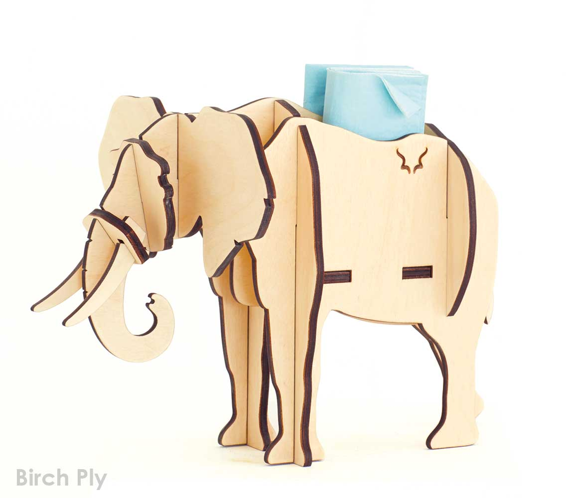 A 7-piece full-bodied Elephant standing sculpture available in Birch ply.