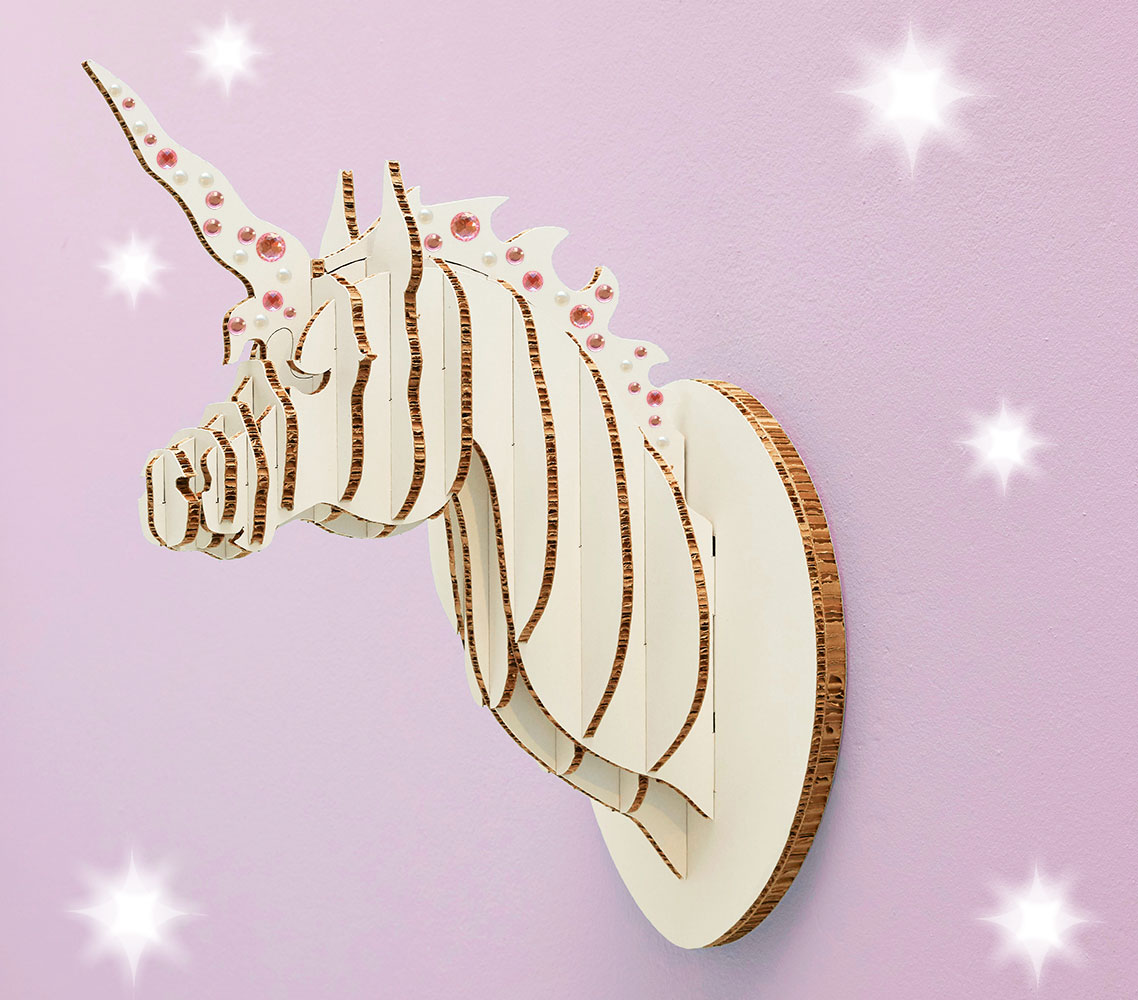 This unicorn will bring a touch of magic to a child's bedroom. It comes with sparkly stickers which can be added for a personal touch! The sculpture is available in white X-board, a proudly South African recycled material. It comes flat-packed with clear instructions on how to assemble and hang. No glue required - all you need is a nail in the wall.