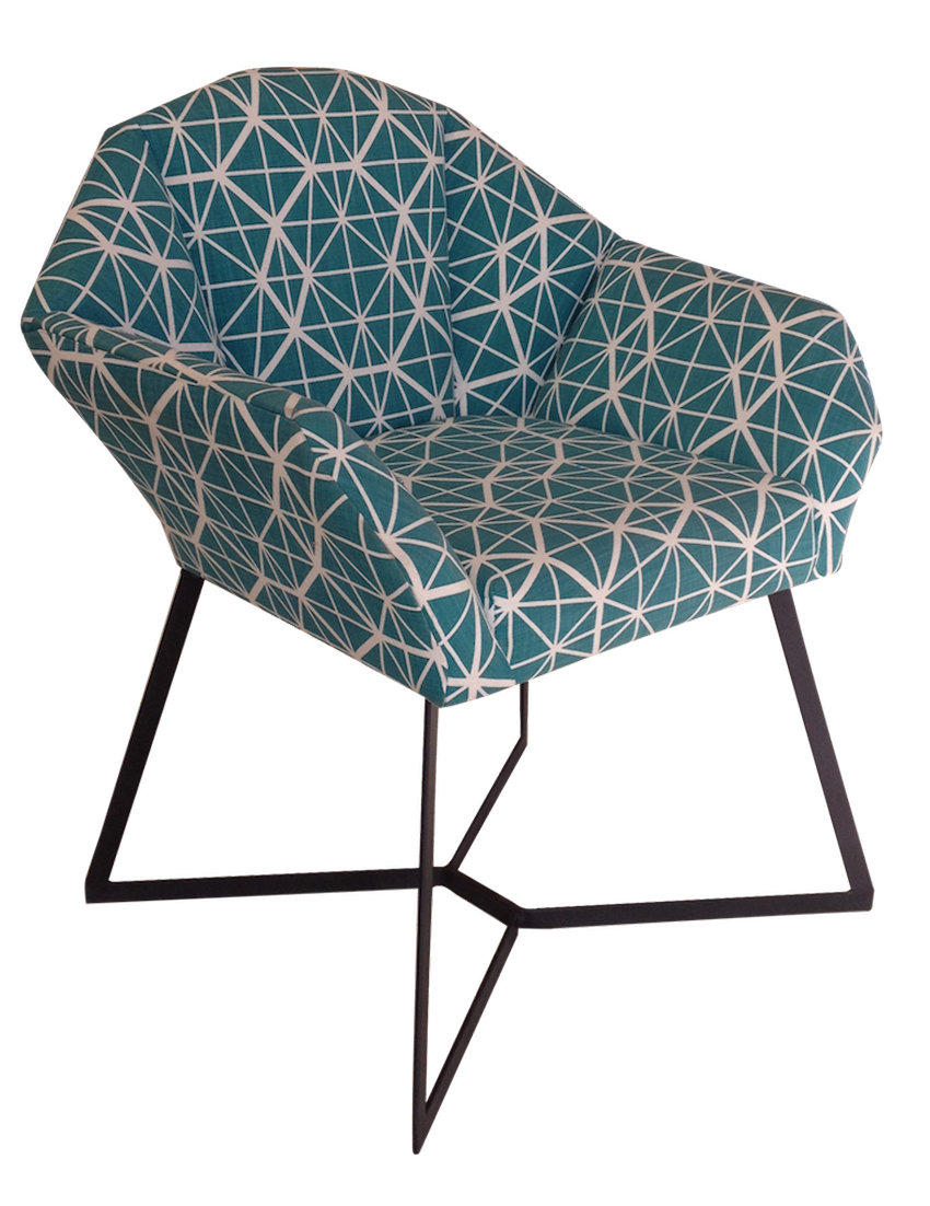 Upholstered in Indigi Designs Facet Teal fabric and finished with epoxy coated steel legs.
