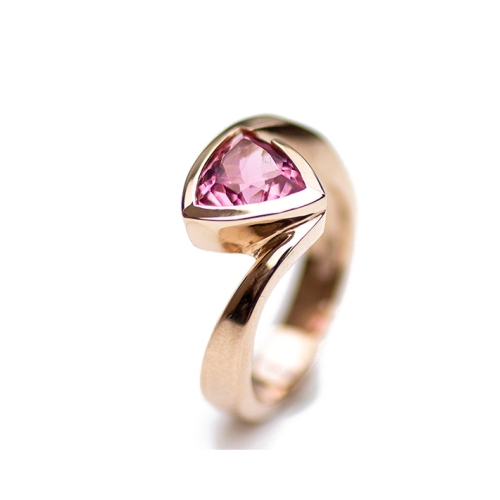 Pink Tourmaline  ring set in Rose gold