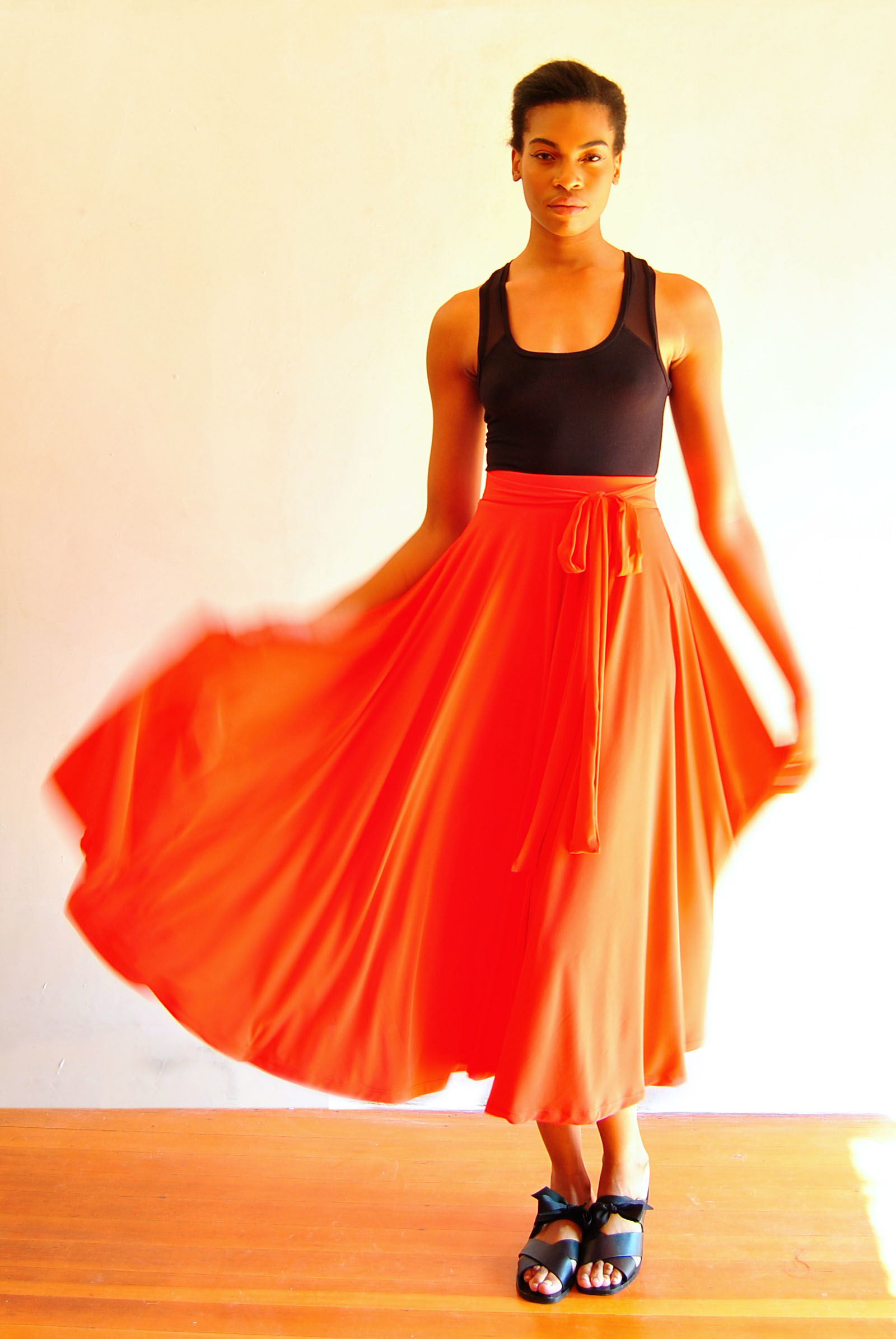 Midi Full Circle Skirt with Bow Belt Coral