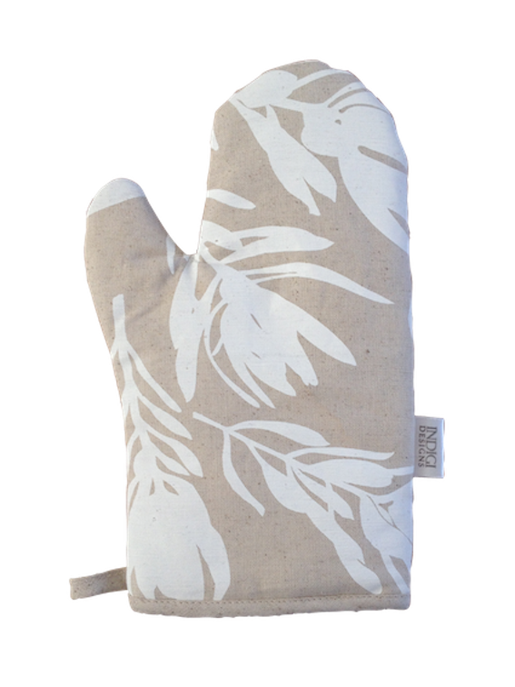 Oven Glove - Conebush (White on Natural)