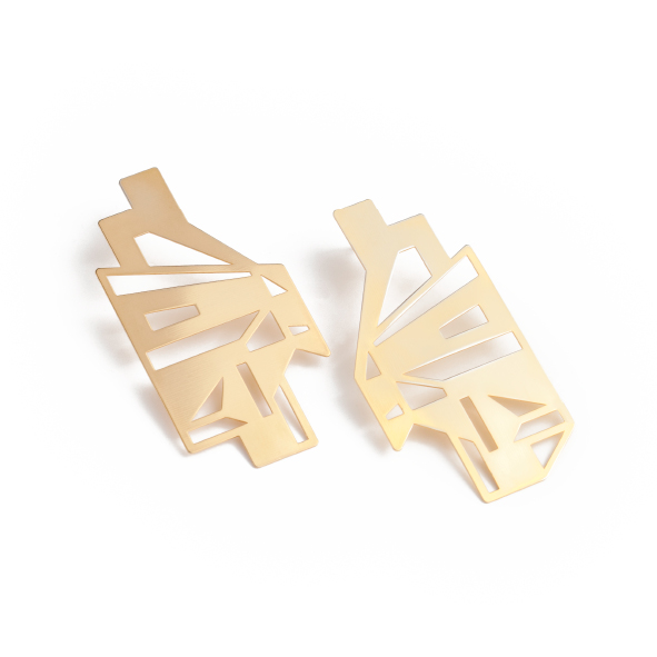 These earrings are a serious reminder to look up! Inspiration for this design comes from the view of the glass roof from inside a foyer at the University of Cape Town. While the starting point is a physical space, the piece is abstracted into a geometric form.