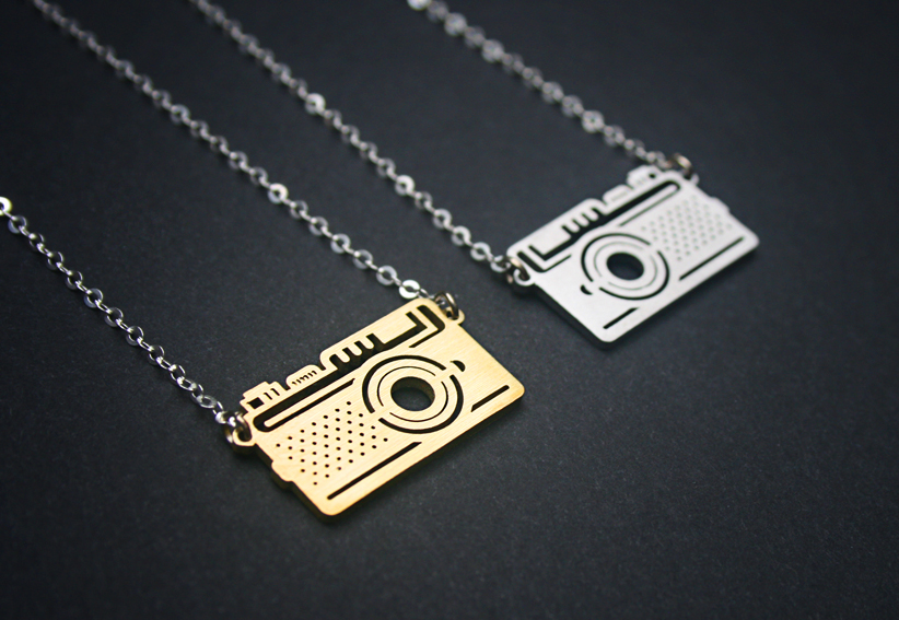 Brass or stainless steel camera pendant with a sterling silver chain